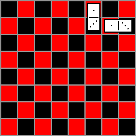 checkerboard setup with dominoes